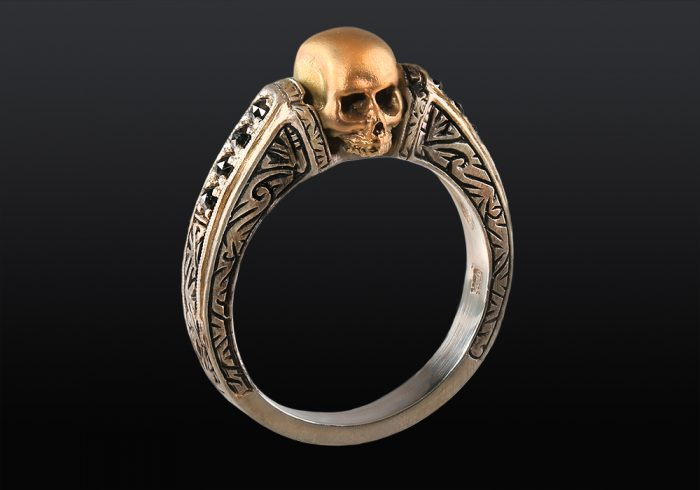 handmade skull ring with black diamonds