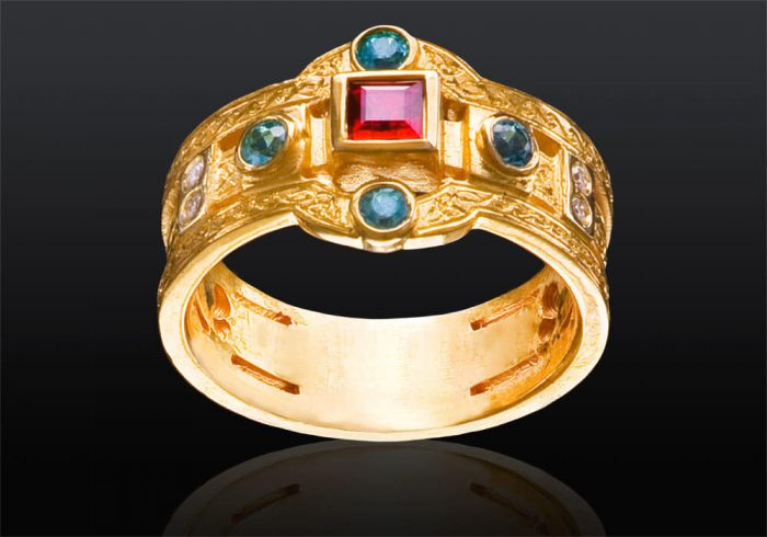 custom gemstone ring in gold with square cut ruby