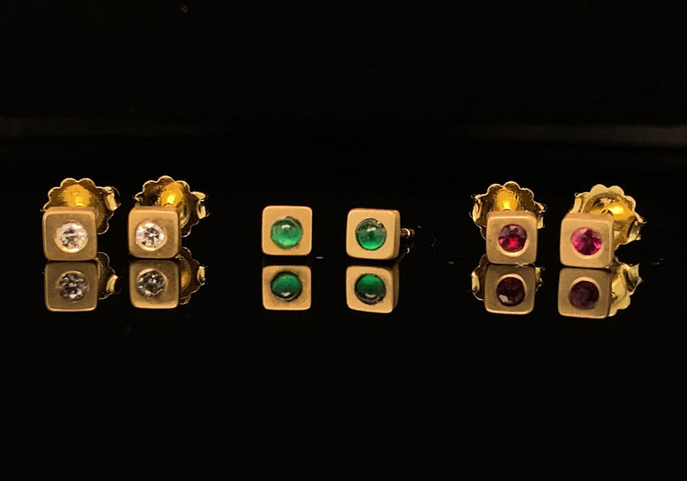 lightweight gold earrings with gemstones