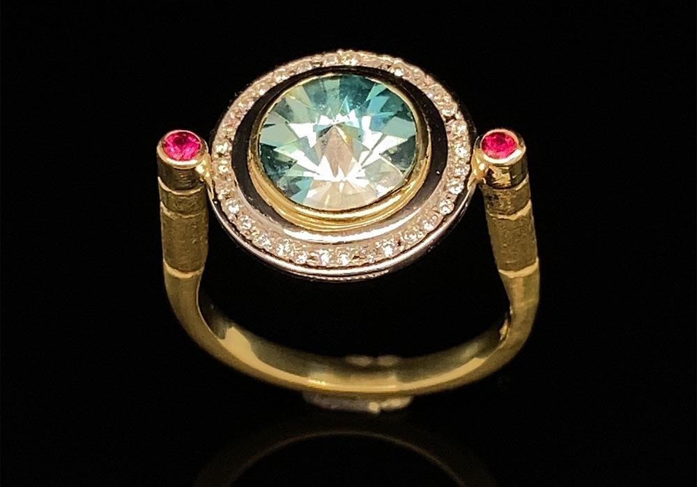 custom gold and platinum gemstone ring